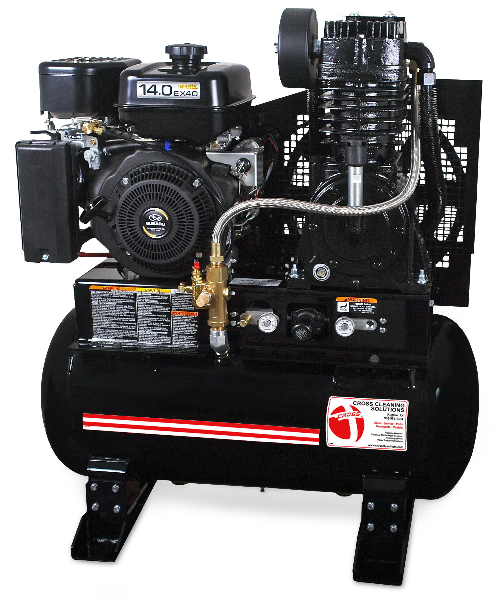 30 & 80-Gallon or Base-Mount Two Stage Gasoline Air Compressor